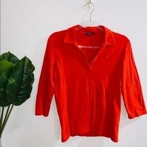 Tommy Hilfiger Red Long Sleeve Top Medium Fit